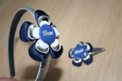 Set Haarband en Haarclipje Naam donkerblauw/zilver/witkant