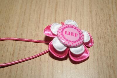 Haarelastiek Lief roze/wit