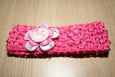 Gehaakte Elastieken Haarband Naam zilverwit/roze