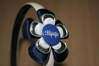 Brede Haarband Naam blauw/zilver/witkant