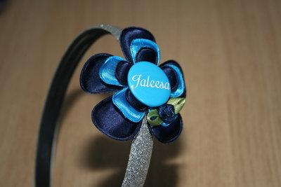 Brede Haarband Naam blauw/neon/blauw