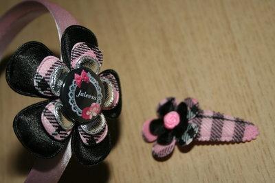 Set Haarband en kniphoesje bloem schotse ruit roze