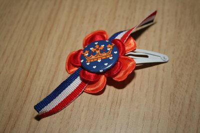 Haarclipje Koningsdag oranje/rood