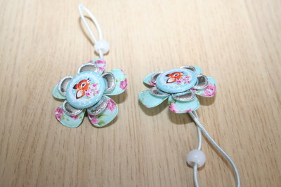 Haarelastiek Hertje mint-bloemen/zilver