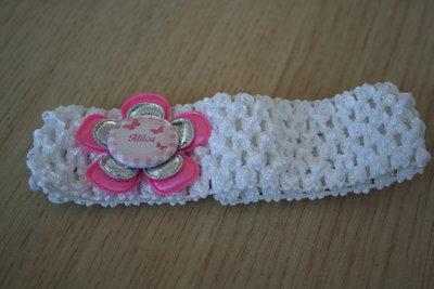 Gehaakte Elastieken Haarband Naam wit/roze/zilver