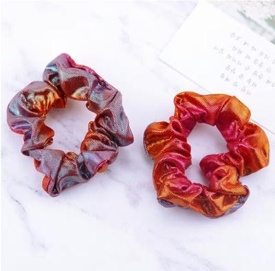 Scrunchie oranje/rood/blauw glimmend klein