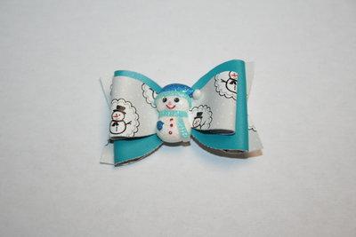 Leren haarstrik blauw/print kerst met sneeuwpop