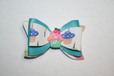 Leren haarstrik blauw/print cupcake