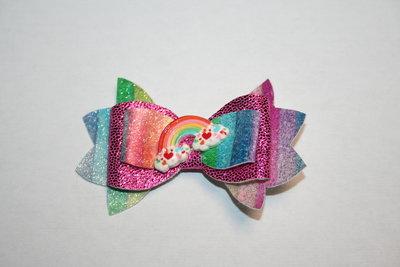 Leren haarstrik hardrozeglitter/regenboog