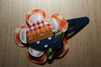 Haarclipje Oranje oranje-ruit/wit