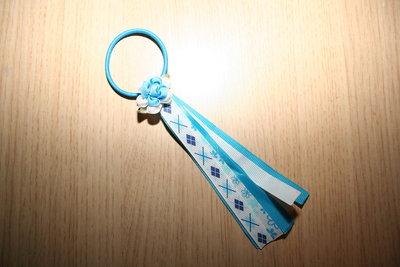 Haarelastiek Linten Bloem blauw/wit/bloemen/wybers