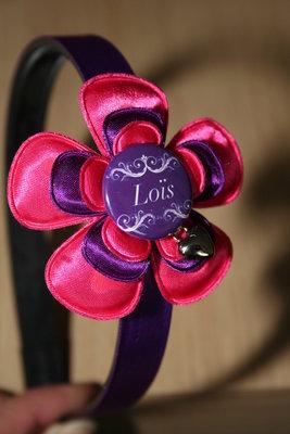 Brede Haarband met Naam fuchsia/paars