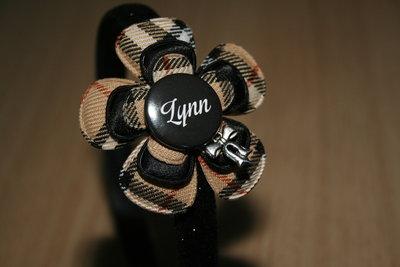 Brede Haarband met Naam schotseruit bruin/zwart