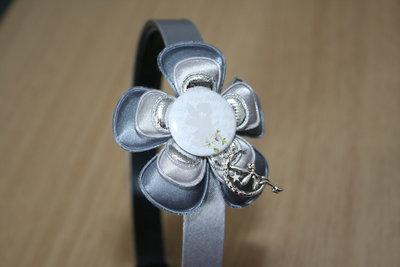 Brede Haarband Engel grijs/lichtgrijs/zilver
