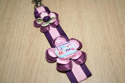 Sleutelhanger enkel Lint Lieve Mama paars/roze