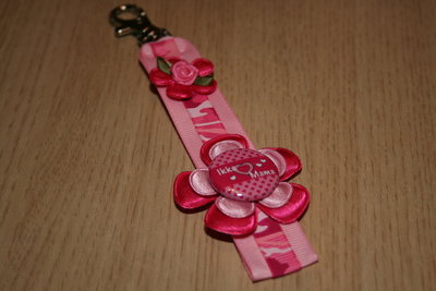 Sleutelhanger enkel lint Ikke Mama roze/fuchsia/fuchsiaprint