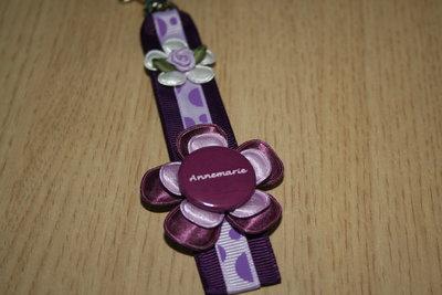 Sleutelhanger enkel lint Naam paars-lila-stip