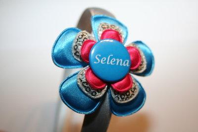 Brede Haarband Naam blauw/zilverpaillet/fuchsia