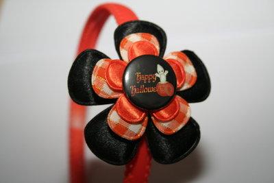 Brede Haarband Halloween zwart/oranje geruit/oranje