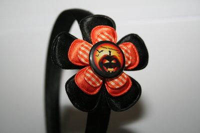 Brede Haarband Halloween zwart/oranje/oranje geruit