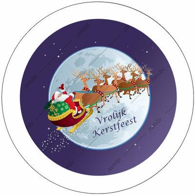 Flatback met kerstman en arreslee