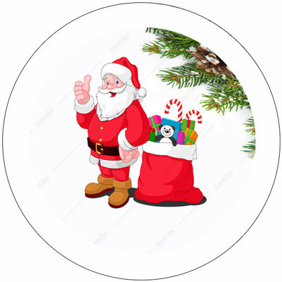 Flatback met kerstman en kadootjes