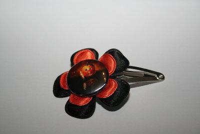 Haarclipje Halloween zwart/oranje
