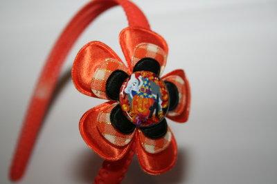 Brede Haarband Halloween oranje/oranjeruit/zwart