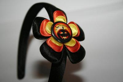 Brede Haarband Halloween zwart/oranje/geel