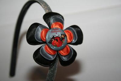 Brede Haarband Halloween zwart/grijs/oranje