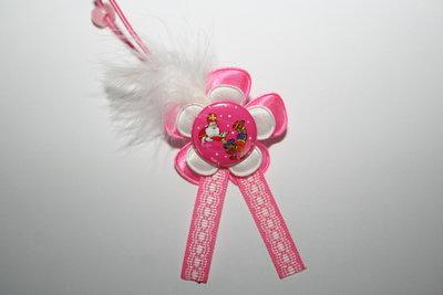Haarelastiek Sinterklaas roze/wit met veer