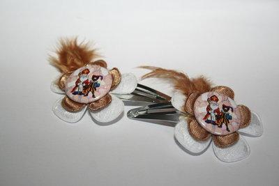 Haarclipje Sinterklaas witkant/bruin