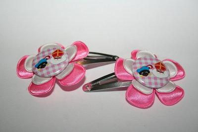 Haarclipje Sinterklaas roze/wit