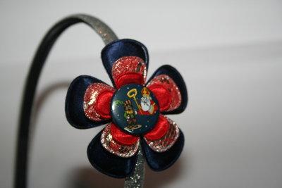 Smalle Haarband Sinterklaas donkerblauw/zilver-roodkant/rood