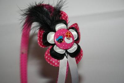 Brede Haarband Sinterklaas roze-witte stip/zwart/wit