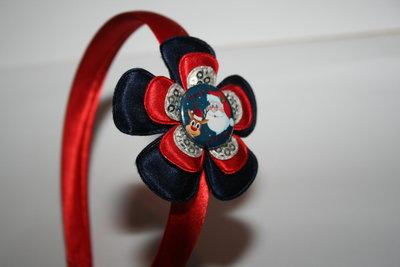 Brede Haarband Kerst donkerblauw/rood/zilverpaillet