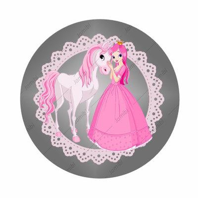 Flatback met prinses en pony