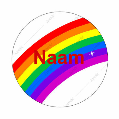 Flatback regenboog met naam