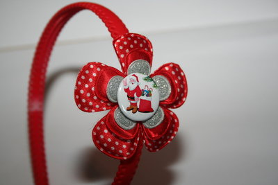 Brede Haarband Kerst rood-witte stip/rood/zilverglitter