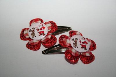 Haarclipje Kerst roodpailletten/rood-wit geruit