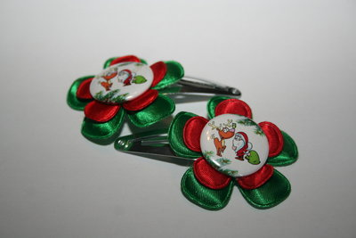 Haarclipje Kerst groen/rood