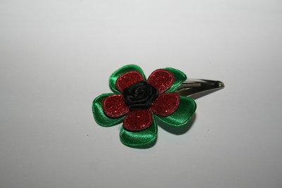 Haarclipje Kerst groen/roodglitter/zwart