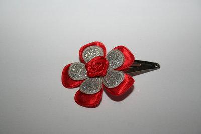 Haarclipje Kerst rood/zilverglitter/rood