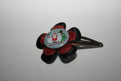 Haarclipje Kerst zwart/roodglitter