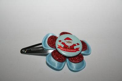 Haarclipje Kerst lichtblauw/roodglitter