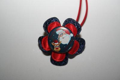 Haarelastiek Kerst blauwpailletten/rood