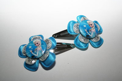 Haarclipje Frozen Elsa felblauw/zilverpailletten