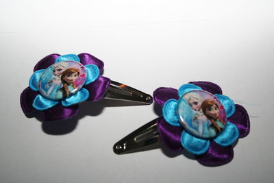 Haarclipje Frozen Elsa en Anna paars/felblauw