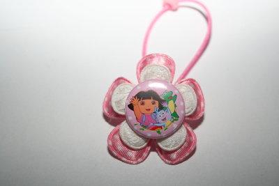 Haarelastiek Dora roze-witte stip/witkant