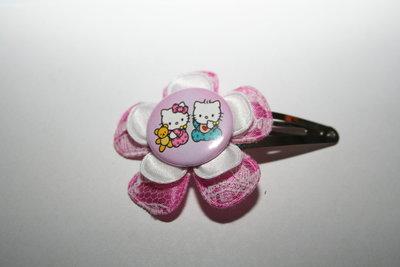 Haarclipje Hello Kitty roze-witte kant/wit